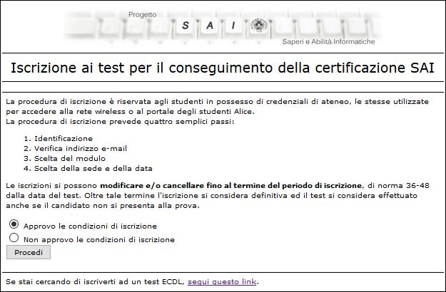 Schermata di accesso al form di prenotazione per i test SAI