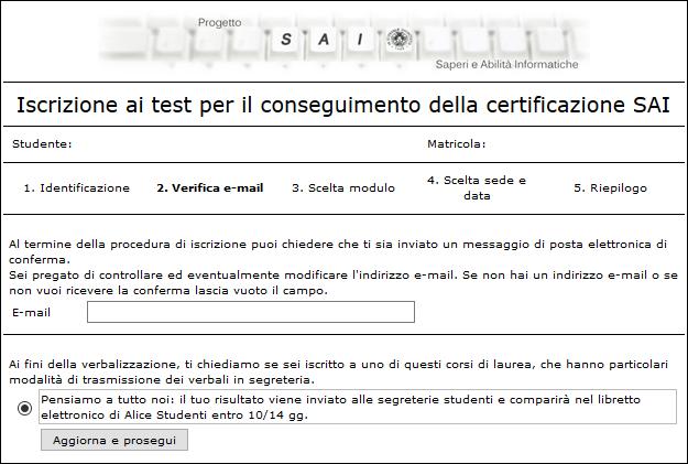Passo 2 del form di prenotazione ai test SAI