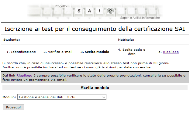 Passo 3 del form di prenotazione ai test SAI